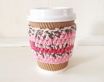 Coffee Cup Cosy in Pink Fair Isle, Crochet Cup Cozy