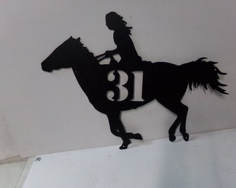 Horse Rider with Number Western Metal Wall Art Silhouette