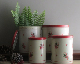 vintage canister set by National,NY - mid-century red and antique white