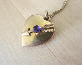 12k Gold Fill Heart Locket Arrow Purple Paste Stone - Antique Jewelry Estate Victorian Art Deco Mid Century Modern