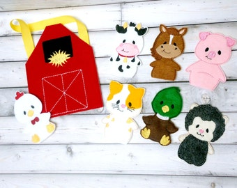 Farm Animal Finger Puppets | Barn Storage Bag | Barnyard | Busy Bag or Book | Eco Felt Finger Puppets | Set of 8