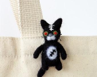 Zombie cat brooch : Needle felted miniature kitty pin, undead Halloween black cat