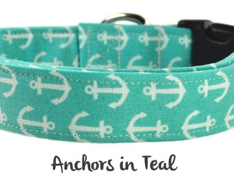 Nautical Dog Collar - The Anchors in Teal
