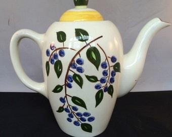 "Vintage Stangl Coffee Pot & Lid-Blueberry Design 7 3/8"" HTF Pattern-1950's"
