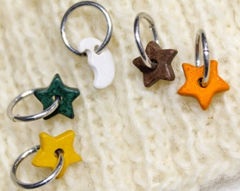 Colorful Knitting Stitch Markers, 5 ceramic celestial charms Crochet Yarn Stitchmarker Stars Moon to Mark Stitches Crocheting Knitter's Gift
