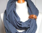 SPRING infinity scarf with leather strap, infinity scarves by ZOJANKA, cotton infinity jersey with belt, Spring Fashion