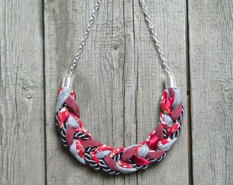FASHION necklace, statement necklace, fabric necklace, gift ideas, red braided necklace, gift for her