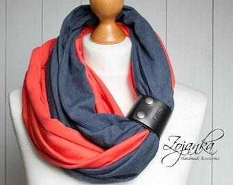 COTTON infinity scarf with leather cuff, infinity scarves, fashion scarf, cotton jersey, ZOJANKA, LIGHTWEIGHT infinity scarf