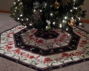 LARGE Octagon Amaryllis Striped Christmas Holiday Tree Skirt IN STOCK