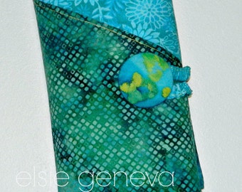 """Made to Order Teal Aqua & Yellow Batik Spill Proof Combo Interchangeable Cable DPN 10"""" 11"""" 14"""" Straight Knitting Needle Case Organizer"""