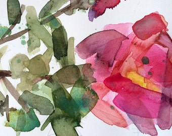 Rose of Sharon no. 6 Original Watercolor Floral Painting by Angela Moulton 5 x 7 inch with 8 x 10 inch White Mat