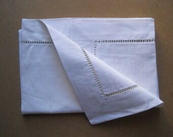Beautiful unused French vintage linen pillowcase, eurosham, square, cushion cover, bed linens