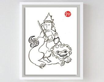 Buddha Manjusri, Monju, Buddha of Wisdom, Fine Zen Brush Art Painting Original, Buddhist art, zen illustration, zen decor, tao, japanese art