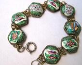 Vintage Persian Enamel Bracelet Hand Painted Enamel Sterling Clasp