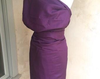 Vintage Silk Fabric Eggplant Silk Yardage Silk Dress Material