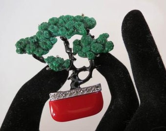 Signed ART DECO 89 Jade Coral & Crystal Rhinestone Bonsai Tree Brooch