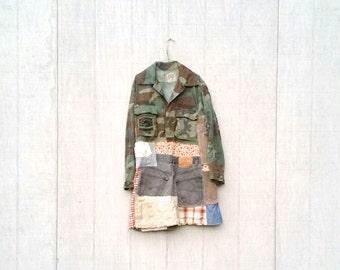 Upcycled Clothing | Upcycled Dress | Camouflage | Bohemian Dress | Jacket | Camo | ladies dress | funky clothing Eclectic Clothing CreoleSha