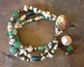 Vintage Trade Bead Bracelet, African Bracelet, White Massai Bracelet, Tribal Jewelry, Multi strand Beaded bracelet, Ethnic Bracelet, Green B