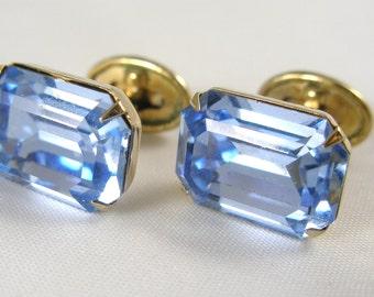 L'AIGLON Sky-Blue Rhinestone Cufflinks, Vintage Designer-Signed