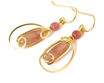 Rose Muscovite Gold Wire Drop Earrings, Unique Russian Muscovite Stone Dangle Wire Wrapped Earrings