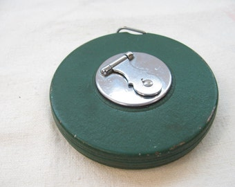 Metal Measuring Tape - Vintage 1940s / 1950s Green   - Crank Rewind - Made in USA by Roe and Sons - Patchogue, NY