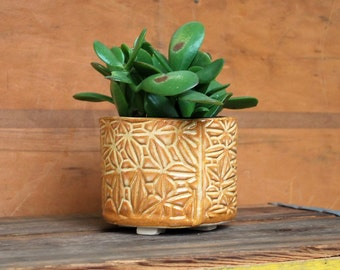 Planter - Orange Patterned Flower Pot - Succulent Planter, Indoor Planter, Ceramic, Pottery