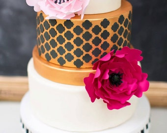 Cake flowers, wedding cake decoration, set of 2  paper flowers, paper flower backdrop, special order cake flowers, wedding cake flowers