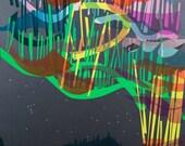 Northern Lights - Aurora Borealis - poster print of an original collage