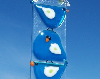 BLue Birds of Happiness // Fused Art GLass // Suncatcher // Sunshine // Cheerful // Friends // Family // Get Well // Fun // Whimsical //Cute