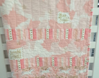 Pink baby quilt, baby girl quilt, baby girl nursery decor, pink and gold nursery decor,baby shower gift