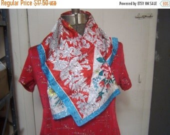 Valentines SALE Vintage Scarf Silver Metallics Japan, Like New, Roses, Floral Teal, REd, Rockabilly, Pin UP 1940s 1950s 1960s