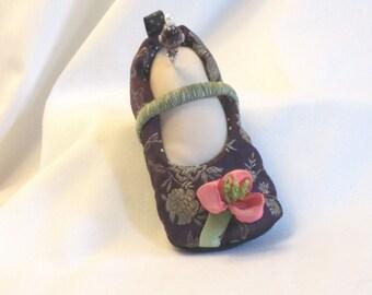 Handmade Pincushion - Soft Sculpture Foot in Purple Brocade Goody Goody Slipper with Coral Ribbon Flower - My Left Foot - Vanilla