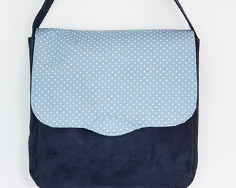 Navy blue suede and cotton print messenger bag