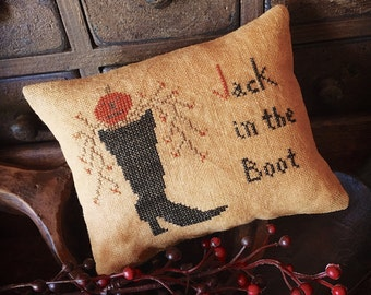 Jack in the Boot, finished primitive cross stitch mini pillow tuck for Halloween