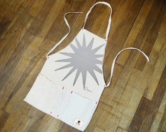 Apron, GRAY BURST Design hand sewn and printed on canvas in Maine, 3 Colors Available