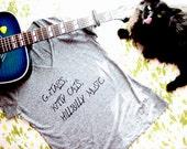 Guitars, Kitty Cats, Hillbilly Music V Neck Tee