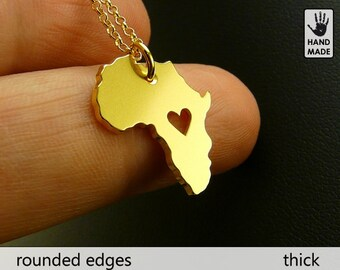 TINY AFRICA Handmade Personalized Goldplated Sterling Silver .925 Necklace in a gift box
