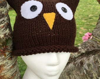 Toddler/Child Owl Hat - Brown