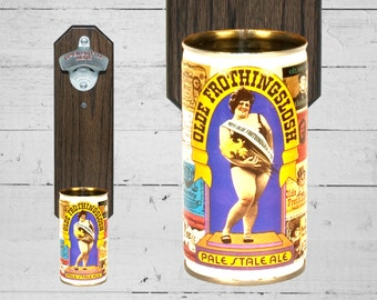 Miss Olde Frothingslosh Wall Mounted Bottle Opener with Vintage Pale Stale Ale Beer Can Cap Catcher, Groomsman Gift