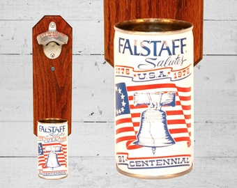 Man Cave Gift Falstaff Bicentennial Wall Mounted Bottle Opener with Vintage Beer Can Cap Catcher