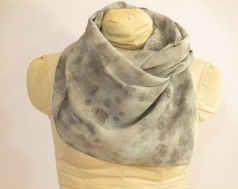 "Silk Scarf - Eco Fashion - Gray - Plant Dyed - Natural Dye  - CDC111503 -  approx. 14""x72"" (35 x 182cm)"