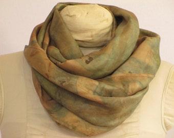 "Silk Scarf - Infinity - Natural Dye - Indigo and Brown - HA111510 - 11""x72"" (27 x 182 cm)"