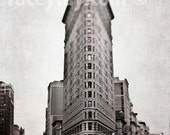 Flatiron, Sepia, Pink, New York Photography, Large Wall Art, Art Deco NYC, Flatiron Building Photo