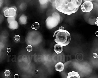 Bubbles, Black and White Bathroom Wall Art, Modern, Abstract, Powder Room Art, Bath Wall Art