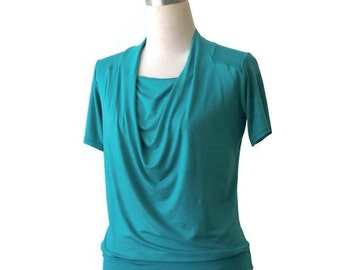 SALE Womens top with cowl neck and short sleeves. Turquoise top, US 12-14, Cowl top, Short sleeve top, Ready to ship top