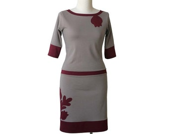 Applique dress, Day womens dress, Knee length dress, Plus size dress, Boat neckline dress, Summer Dress, Plus size clothing, Plus size