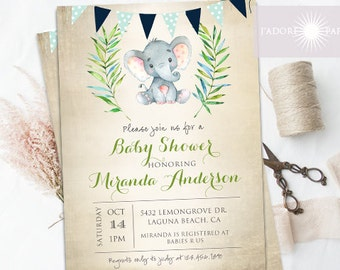 Baby Shower Invitation, Neutral Baby Shower Invite, Elephant Baby Shower Invite, Blue, Rustic Baby Shower, Watercolor, jadorepaperie