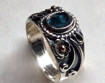 London topaz ring, Statement ring, Gypsy ring, two tones ring, silver gold ring, boho chic ring, casual ornate ring - Saturday Night R2235
