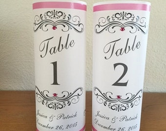 Wedding Luminaries- Personalized- Table Numbers- Set of 10