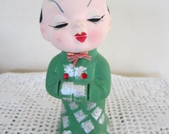 Vintage Asian Man Figurine Rhinestones Bisque Figurine Cute